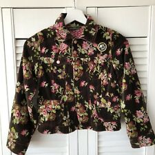 Oilily Girl's Brown Velvet Floral Pattern Jacket Size 140 Age 9-10 Years