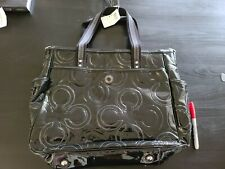 NEW COACH PATENT LEATHER DIAPER BABY BAG MULTIFUNCTION TOTE 16977 Black/Silver