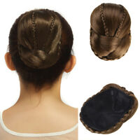New Women Bun Braided Updo Clip in Hair Extension Synthetic Chignon Donut Roller