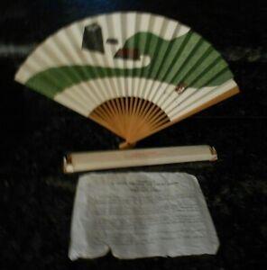 VINTAGE NORTHWEST ORIENT AIRLINES JAPANESE WOODBLOCK FAN TENRYUJI GARDEN