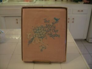 """Adorable Vintage Sweet Early 50's Pink Satin Baby Book """"The Story Of Our Baby"""""""
