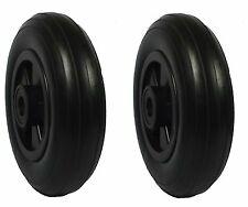 2 x 200mm Black Rubber Tyre PUNCTURE PROOF Wheels. Garden / Dog Show Trolley*