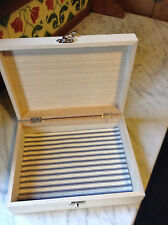 Plain Wooden Box with Ticking Fabric Base for Decoupage etc .