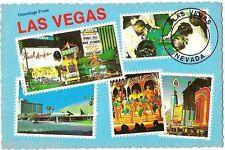 Las Vegas Aladdin Caesars Binion's Showgirls Frankie Valli Paul Anka postcard c