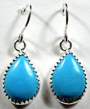 10x14mm Teardrop Blue Turquoise 925 Sterling Silver Earrings - Made In USA
