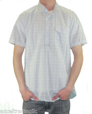 STEVEN ALAN Blue Plaid Short Sleeve Round Collar Popover Shirt MST0064CT NWT