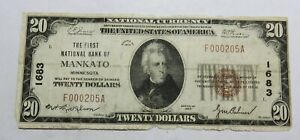 1929 MANKATO MINNESOTA 20 DOLLAR BILL NATIONAL CURRENCY HEAVY FOLDS TORN
