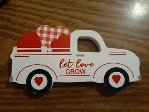 Valentine's Day White Farm Truck Tiered Tray Sign NEW (Thick Cut)