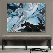 ABSTRACT PAINTING Modern CANVAS WALL ART RESIN COATED Large FRAMED US ELOISExxx