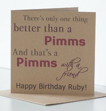 Drinking Birthday Card for a friend, Pimms themed, personalised with name.