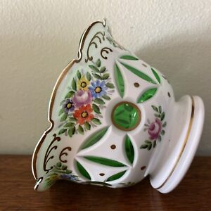 Bohemian Czech Cased Glass Vase White Cut To Green HP Roses And Gold Detailing