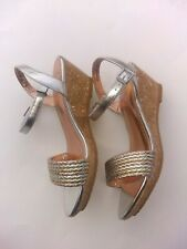 Nine West Women's Gold and Silver Wedge Strap Ankle Sandals Sz 5 Sandals