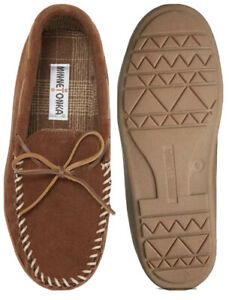 Minnetonka Tory Traditional Trapper Slipper Suede Whiskey Grip Sole Plaid Lining