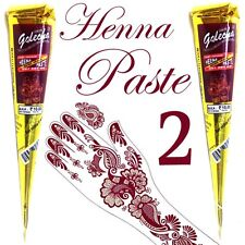 2 X  Golecha Maroon Henna Cones Temporary Tattoo Body Art Ink