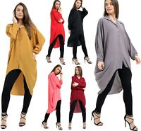 New Womens Ladies Button Hi Lo Long Sleeve Collared Chiffon Shirt Dress Top 8-22