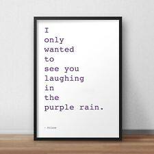 Purple Rain Prince Rogers Nelson Art Poster Art Print Fan Gift song lyrics quote