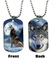 DOG TAG NECKLACE - Wolf Howling 2 at Moon wolves spiritual native magical mystic