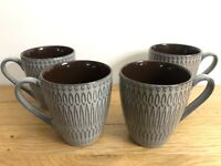 Gourmet Basics Broadway Coffee Mug Gift Set By Mikasa Gray 3D Texture Glazed Cup