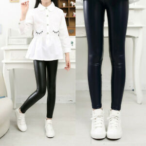2 Pcs Trousers Child Warm Skinny PU Leather Pants Toddler Girls Stretchy Legging
