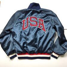Vintage USA Olympic Training Center Satin Baseball Bomber Jacket Men S M Blue