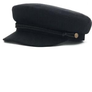 Brixton Fiddler Fisherman Cap Hat Linen Cotton Herringbone Black Size XS Unisex
