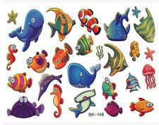KIDS Temporary Tattoo FISH Great for Party Bags Sheet size 11x15cm