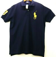 NEW Polo Ralph Lauren Men's L Big Pony Classic Fit Shirt Navy Gold Short Sleeve