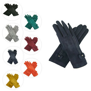 Ladies Women Winter Gloves Little Bow Fleece Thermal Lining Touch Screen