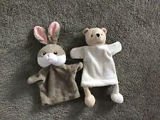 Two Hand Puppets Bear Clarins Paris By Caroline Lisfranc & Rabbit Puppet Co.