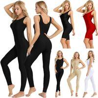 Plus Women's One-Piece Tank Unitard Dance Leotard Bodysuit Short Romper Jumpsuit