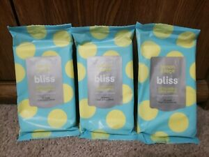 3 Pack Bliss Refreshing Body Wipes Lemon & Sage with natural deodorant 30 ct ea