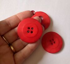 3 Large Chunky Red Buttons 40mm L0099 Aussie Seller