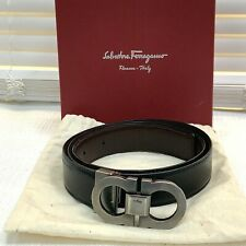 Salvatore Ferragamo Double Gancini Black/Brown Reversible Belt Size 32 $395.00