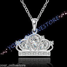 Stunning 925 Sterling Silver Plated Crown Necklace