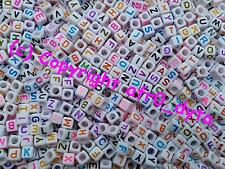 100 White & Coloured Alphabet Mixed Letters Cube Beads 6mm