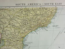 1919 LARGE MAP ~ SOUTH AMERICA SOUTH EAST ~ URUGUAY INSET BUENOS AIRES