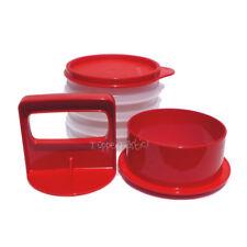 Tupperware NEW Hamburger Press and Keepers set Red Sheer