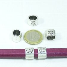 13 Abalorios Para Cuero Regaliz 14x10mm T433X Tibetano Big Hole Beads Pelle