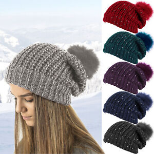 LADIES CHUNKY KNIT SLOUCH BEANIE GLITTER SEQUINS & DETACHABLE POM POM WINTER HAT