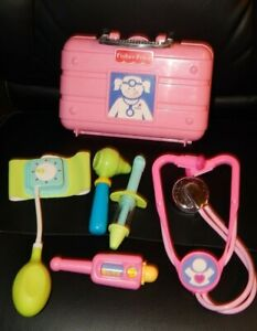 2006 Fisher Price Doctor Bag Nurse Kit Dr. Pink Tote + Accessories 6 PC Lot