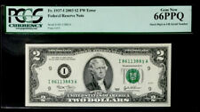 Gem $2 Federal Reserve Note Misaligned Digit Error- Pcgs #66 Ppq Gem Unc