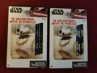Valentines! Star Wars Disney NEW Valentines w/pencils  - GET 2 packs (YOUGET 32)