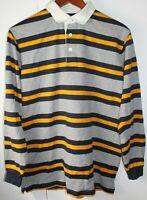 Brooks Brothers Fleece Mens Striped Long Sleeve Golf Polo Shirt XL Blue Yellow