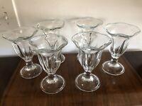 Vintage PARFAIT GLASSES Ice Cream Sundae Pedestal Bowl Fluted Dish Set of 6 NICE