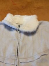 $129   Echo design  light gray  rabbit fur zipper  poncho r100