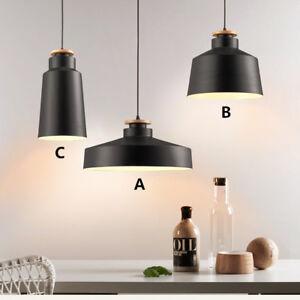 Black Ceiling Lamp Bar LED Lighting Kitchen Wood Pendant Lights Bedroom Light