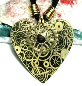 Steampunk Love Heart Guitar Pick Plectrum Brass Pendant Necklace Gift