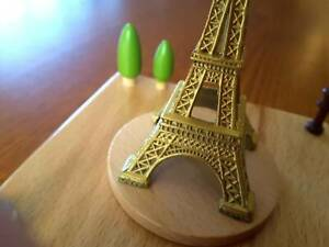 Wooden Music Box Eiffel Tower (Paris) with Horse & Carriage, Vintage Style, NEW