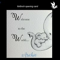 New Parents New Baby Boy Card Personalised Handmade Welcome To The World