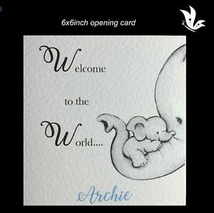NEW BABY BOY Card PERSONALISED Handmade Welcome,Cute, Birth,Congratulations,